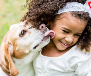 Girl and dog playing together. Learn more about kids and dogs.