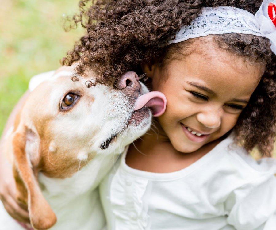 Girl and dog playing. Kids and dogs need supervision.