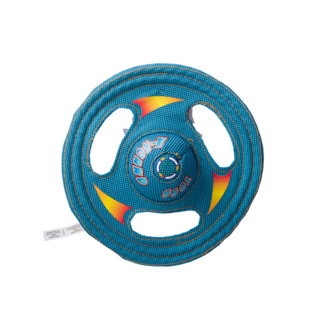 Blue wheel shaped squeaky toy for dogs, Hartz SKU 3270000766