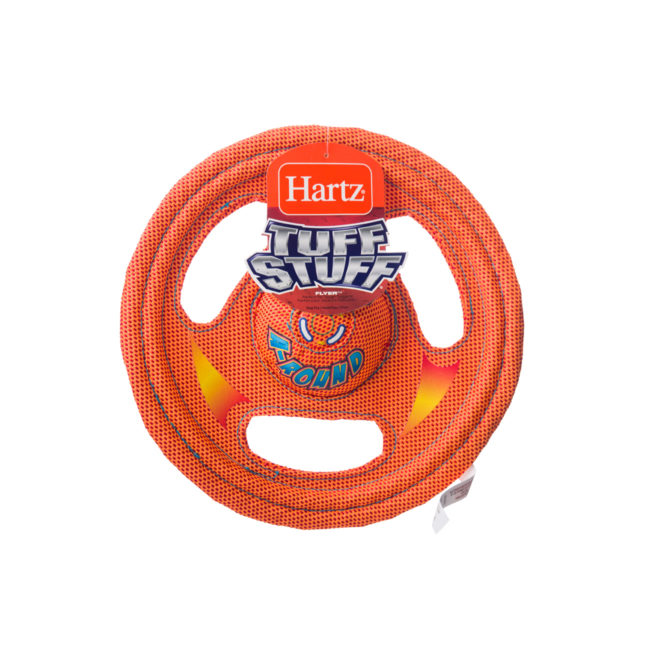 Orange wheel shaped squeaky toy for dogs, Hartz SKU 3270000766
