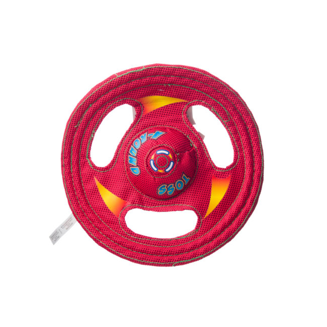 Red wheel shaped squeaky toy for dogs, Hartz SKU 3270000766