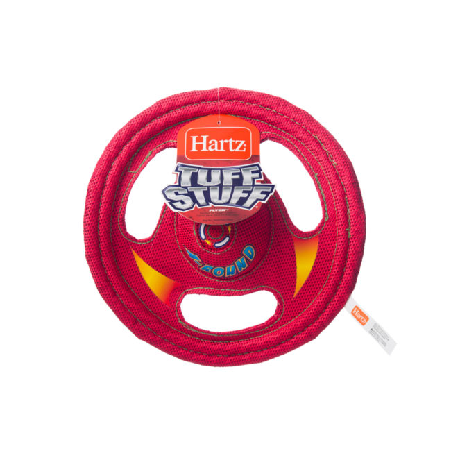 Red wheel shaped nylon toy for dogs, Hartz SKU 3270000766
