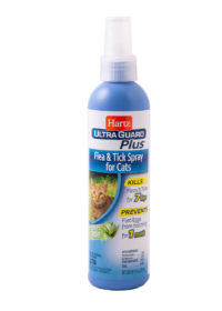 A flea and tick spray with aloe for cats, Hartz SKU 3270001864