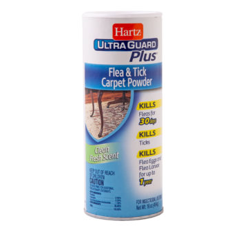 A flea and tick powder for carpets, Hartz SKU 3270002265