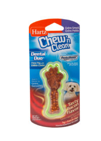 Green bone shaped dental treat for dogs, Hartz SKU 3270002413