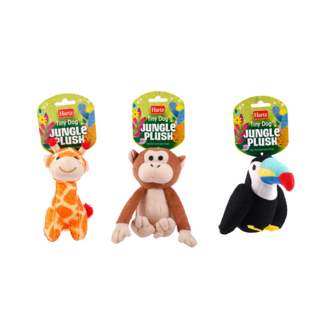 Complete line of squeaky plush dog toys designed to promote dog fun, Hartz SKU 3270004353