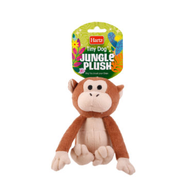 Squeaky dog toy in the shape of a plush monkey, Hartz SKU 3270004353