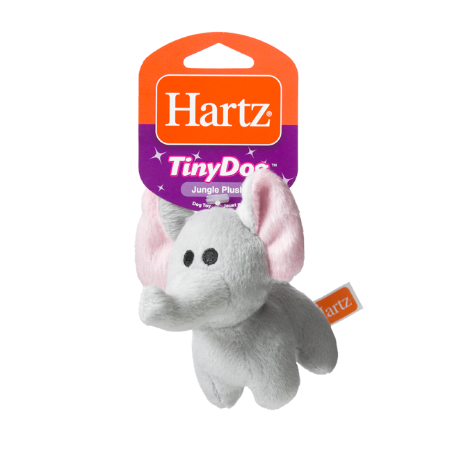 Squeaky dog toy in the shape of a plush elephant, Hartz SKU 3270004353