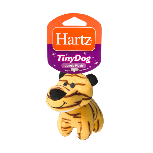 Squeaky dog toy in the shape of a plush tiger, Hartz SKU 3270004353
