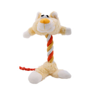 Rope dog toy in the shape of a plush yellow cat, Hartz SKU 3270004354
