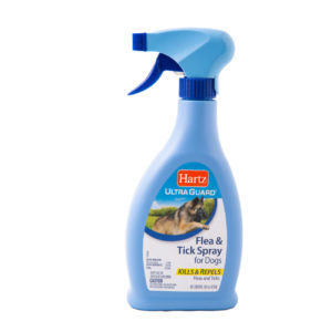 A blue bottle flea and tick spray for dogs, Hartz SKU 3270016023
