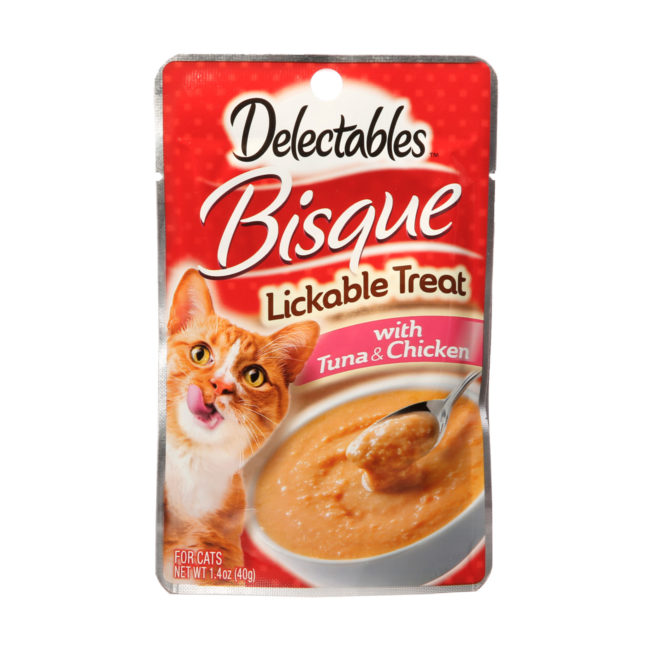 A lickable chicken and tuna bisque for hungry cats, Hartz SKU 3270011053