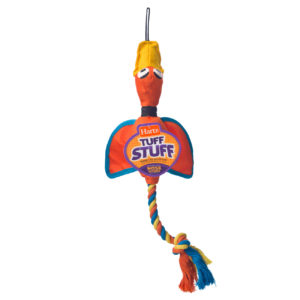 Orange duck chew toy and rope for large dogs, Hartz SKU 3270011577