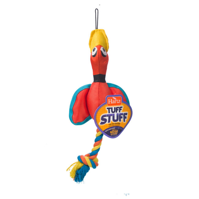 Orange duck chew toy and rope for small dogs, Hartz SKU 3270011973