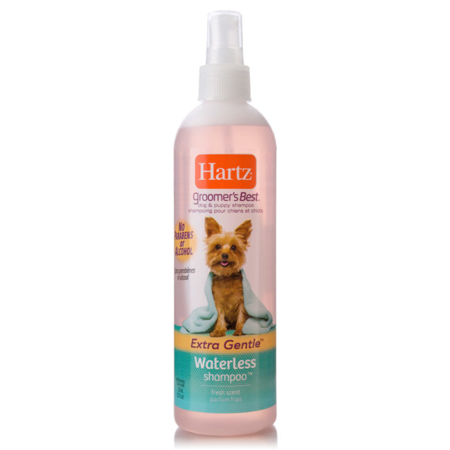 Waterless shampoo bottle for dogs and puppies, Hartz SKU 3270012106