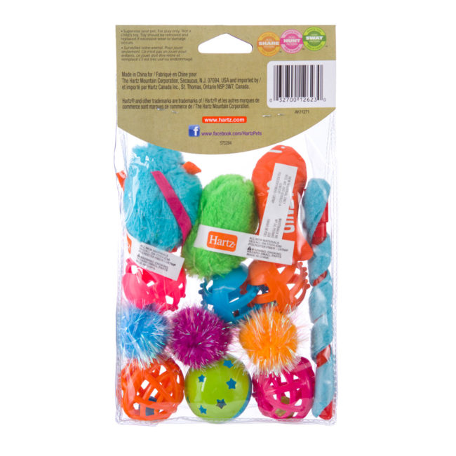 An assortment of colorful toy mice and balls for cats, Hartz SKU 3270012623