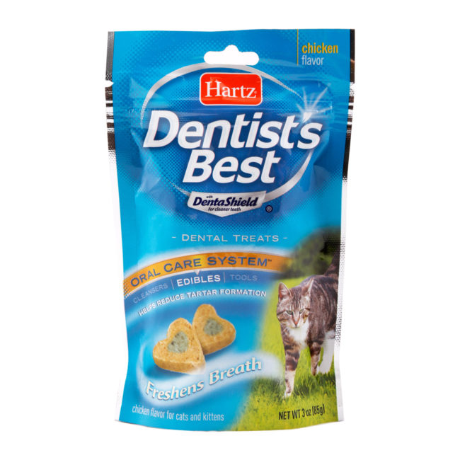 Heart shaped dental treats for cats, reducing tartar, Hartz SKU 3270012878