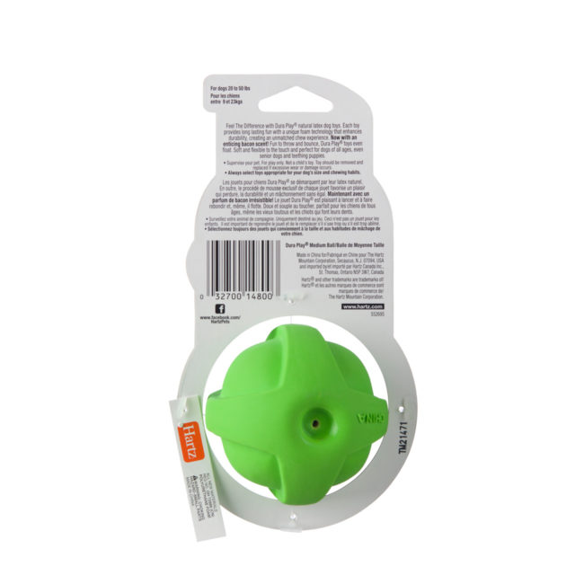 Green latex chew toy for medium sized dogs, Hartz SKU 3270014800