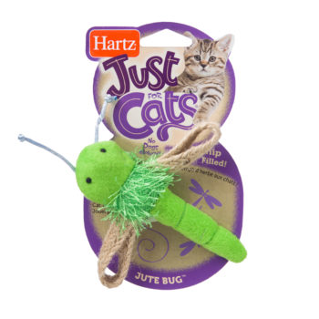 Green plush firefly toy for cats with fun textures, Hartz SKU 3270014948