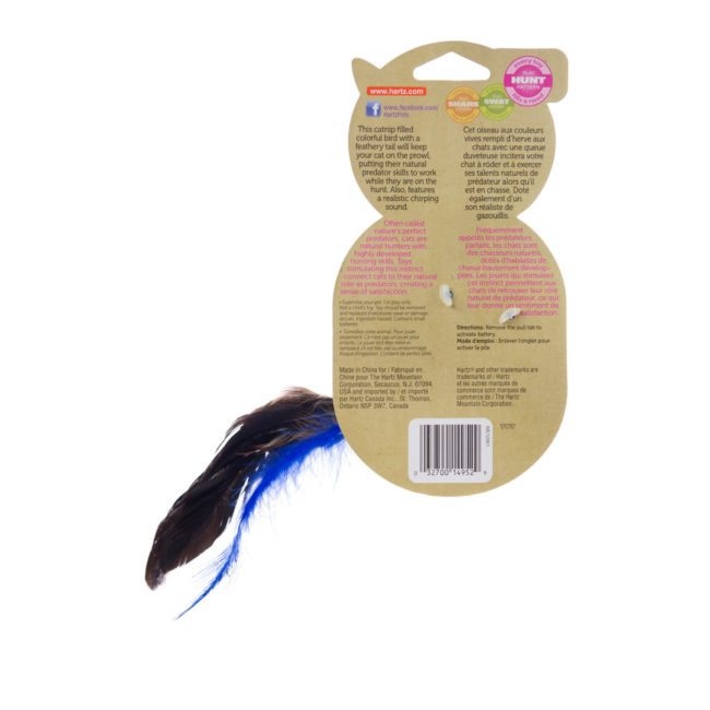 A blue feathered cat toy filled with catnip, Hartz SKU 3270014952