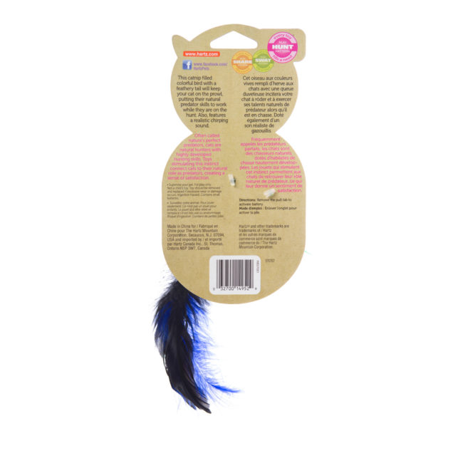 A green feathered cat toy filled with catnip, Hartz SKU 3270014952