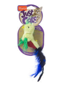 A green chirping plush bird toy for cats, Hartz SKU 3270014952
