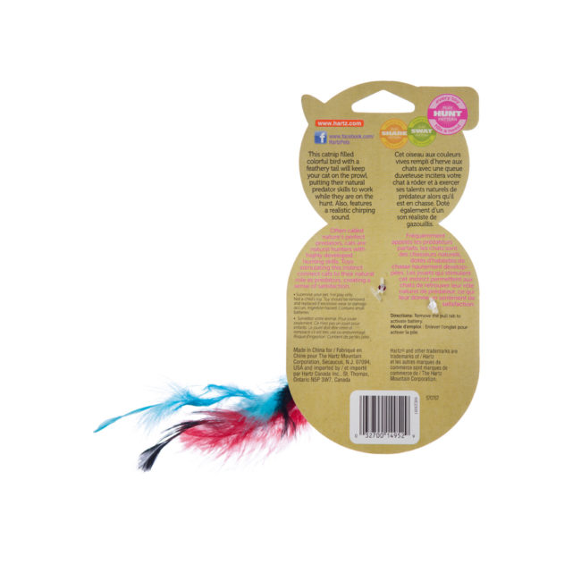 A red feathered cat toy filled with catnip, Hartz SKU 3270014952