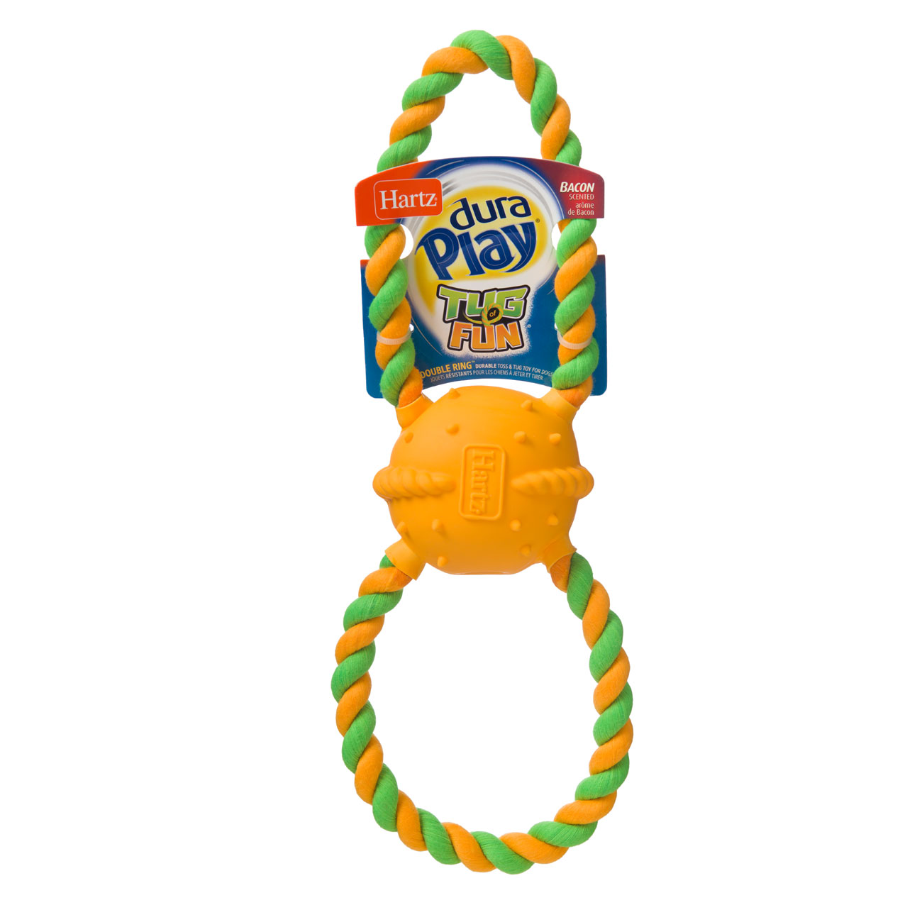 Green and orange cotton rope toy for dogs, Hartz SKU 3270015386