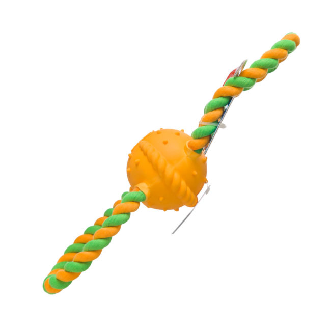 Green and orange rope toy and chewy ball for dogs, Hartz SKU 3270015386