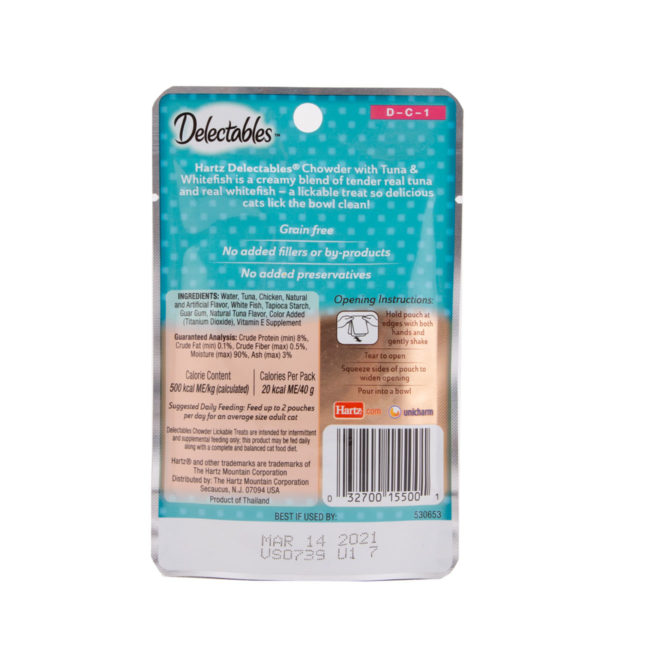 Hartz Delectables™ Lickable Treat chowder tuna and whitefish. Back of package.