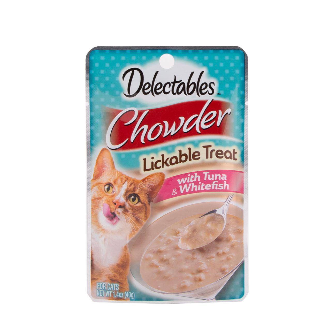 Hartz Delectables™ Lickable Treat chowder. Front of package. The package has a picture of a cat and Hartz Delectables lickable treat chowder.