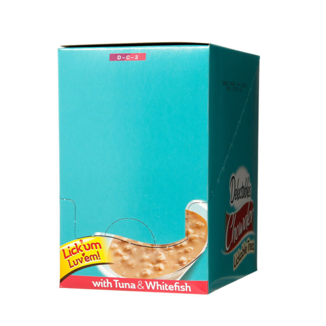 Hartz Delectables™ Lickable Treat chowder. Front of closed carton.
