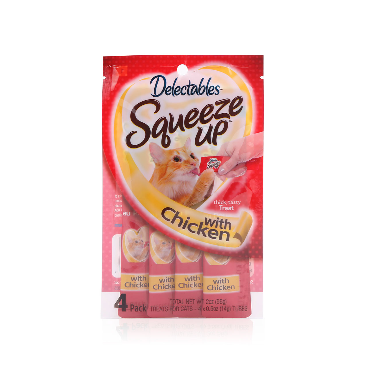 Delectables SqueezUp chicken is the first gourmet wet cat treat where feeding is interactive. Front of package picturing a cat eating from a squeezeup tube being held by a hand.