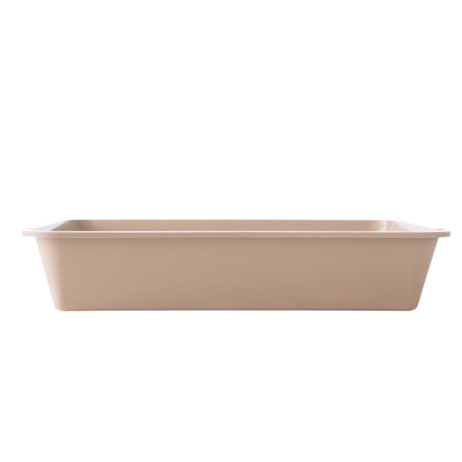 The full length of a beige litterbox for cats, Hartz SKU 3270081136