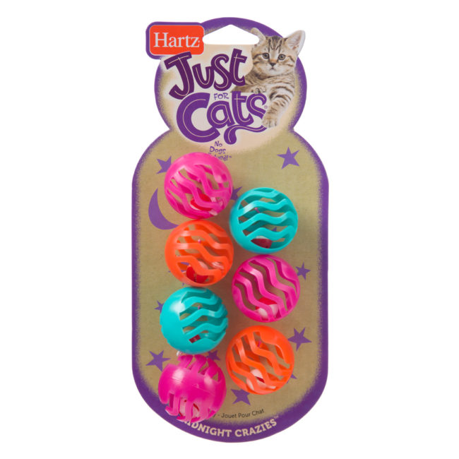 Colorful textured ball toys for cats, with bells, Hartz SKU 3270082182