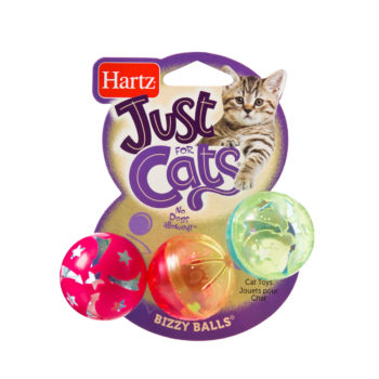 A trio of colorful ball toys for cats to rattle, Hartz SKU 3270082183