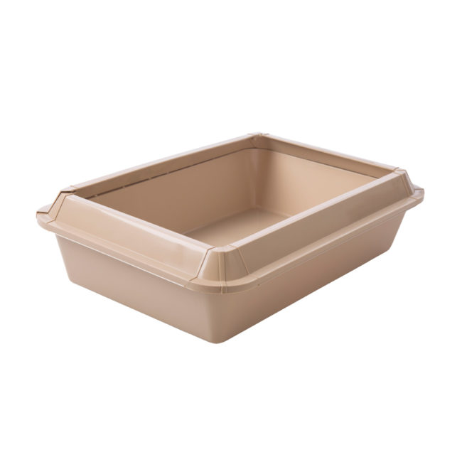A empty beige litter pan for cats, Hartz SKU 3270083723