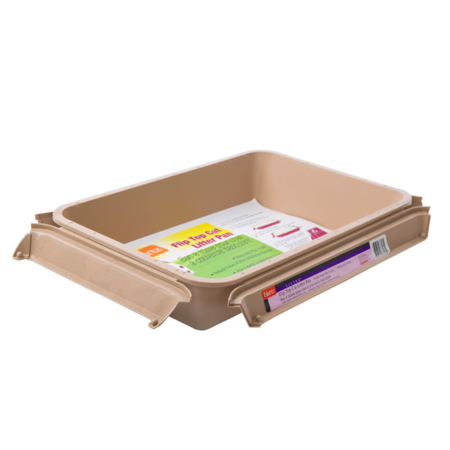 An open beige litter pan for cats, Hartz SKU 3270083723