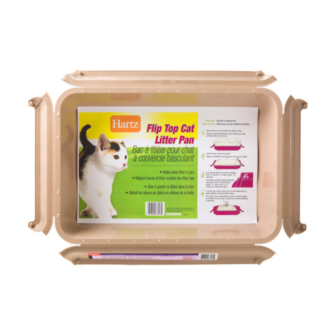 A beige flip top litter pan for cats, Hartz SKU 3270083723
