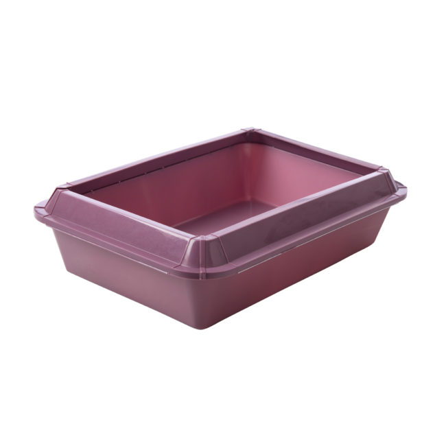 A closed purple litter pan for cats, Hartz SKU 3270083723