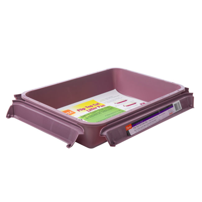An open purple litter pan for cats, Hartz SKU 3270083723