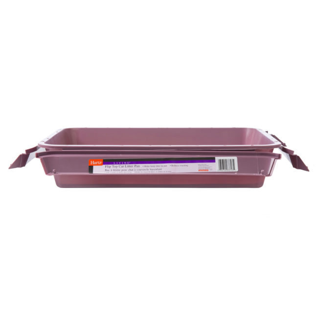 Side of a purple beige litter pan for cats, Hartz SKU 3270083723