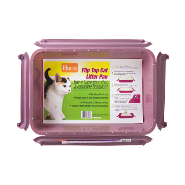 A purple flip top litter pan for cats, Hartz SKU 3270083723