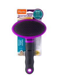 A slicker brush for removing tangles in dog hair, Hartz SKU 3270083799