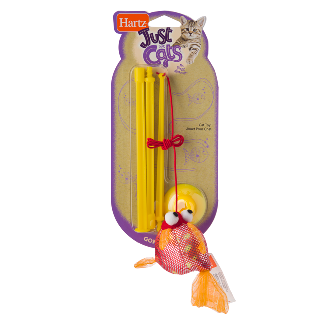 A fishing rod and sparkly yellow fish toy for cats, Hartz SKU 3270088538