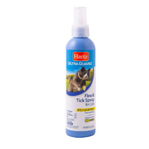An 8 oz flea and tick spray for cats and ktitens, Hartz SKU 3270091028