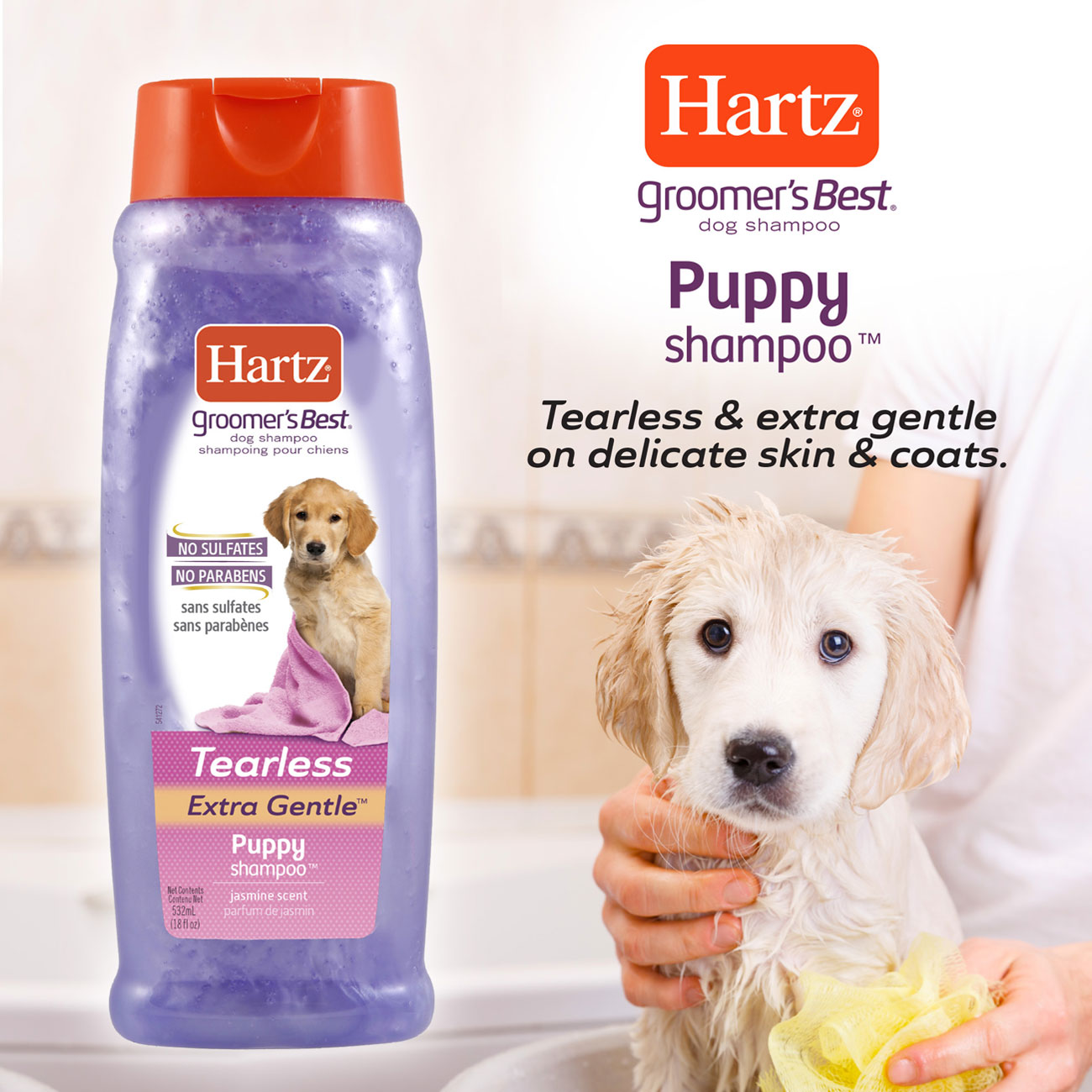 Hartz Groomers Best Puppy Shampoo. Tearless and extra gentle on delicate skin and coats.