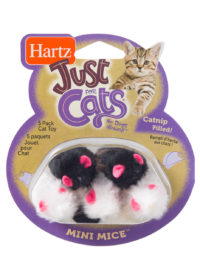 A 5 pack of catnip filled mice toys for cats, Hartz SKU 3270095986