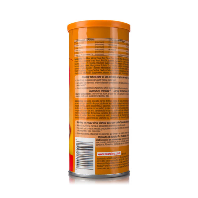 Ingredients of protein-fat flakes for goldfish, Hartz SKU 4332401555
