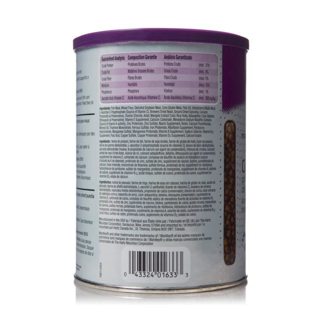 Ingredients of protein flakes for cichlid fish, Hartz SKU 4332401633